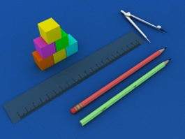 School stationery 3d preview