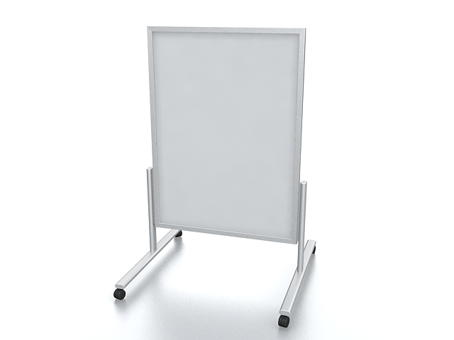 Sign stand with wheels 3d rendering
