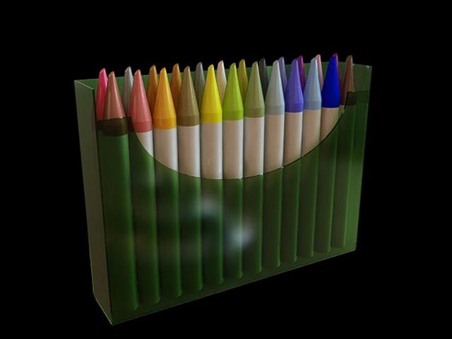 A box of marker pen 3d rendering