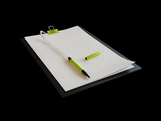 Notepad with pen 3d rendering
