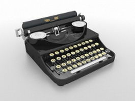 Old-fashioned typewriter 3d model preview