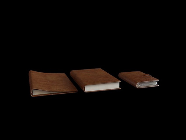 Brown leather notebook 3d rendering