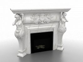 Roman sculpture fireplace 3d model preview