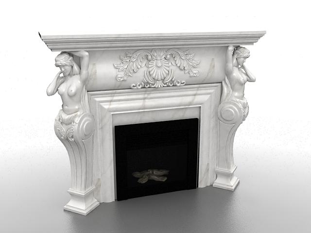 Roman sculpture fireplace 3d rendering
