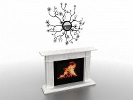 White fireplace with wall decoration 3d model preview