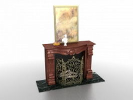 Brown fireplace and decorative painting 3d preview