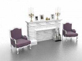 Living room fireplace design 3d model preview