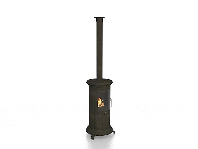 Vintage wood burning stove 3d rendering