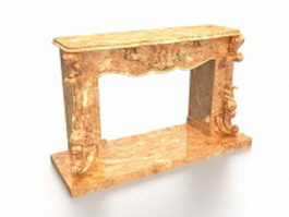Marble fireplace mantel 3d model preview