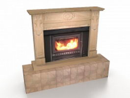 Gas-powered fireplace 3d model preview