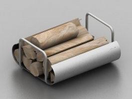 Wood fireplace log holder 3d model preview