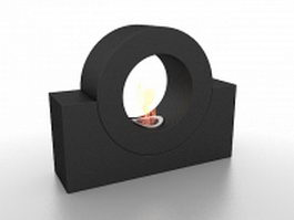 Circular ring fireplace 3d model preview