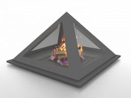 Cone shaped fireplace 3d model preview