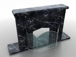 Black fireplace mantel with screen 3d model preview