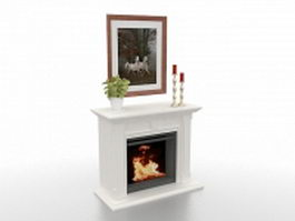 White fireplace with decorations 3d preview