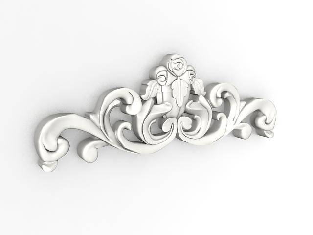 Ornamental plaster moulding 3d rendering