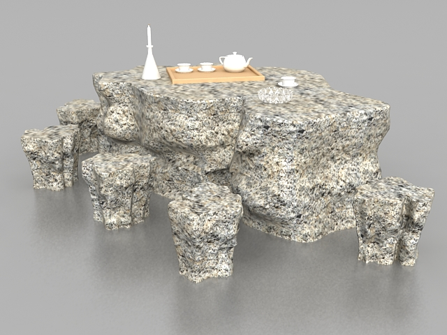 Garden stone table with stools 3d rendering