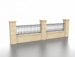 Brick and wrought iron fence 3d model preview