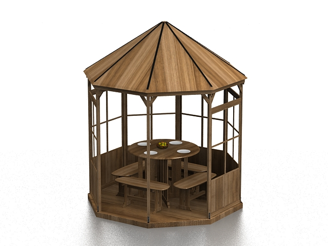 Wood pavilion with table 3d rendering