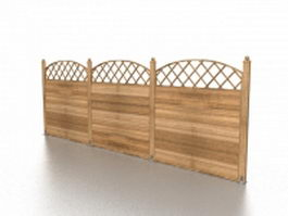 Wood privacy fence panels 3d preview