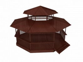 Double roof gazebo 3d model preview