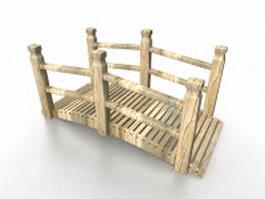 Rustic garden bridge 3d model preview