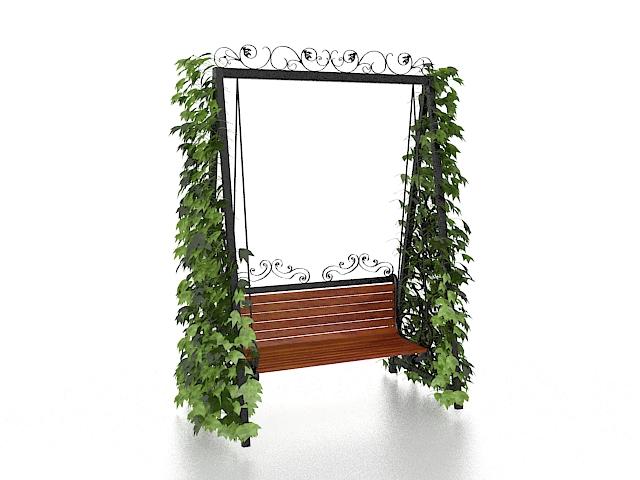 Green vine swing 3d rendering