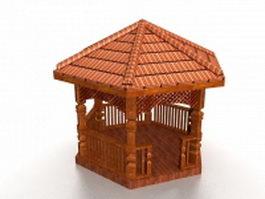 Wood gazebo 3d model preview