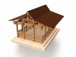 Chinese garden pavilion 3d model preview