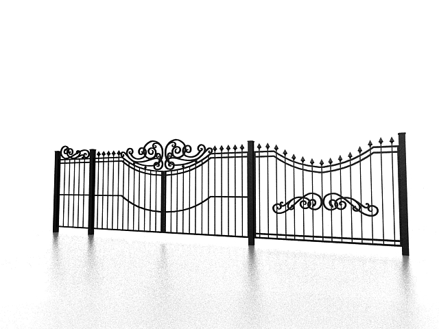 Cast iron garden fencing 3d rendering