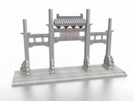 Chinese memorial gateway 3d model preview