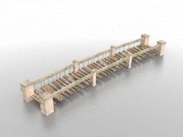 Garden brick bridge 3d model preview