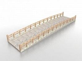 Japanese stone garden bridge 3d model preview