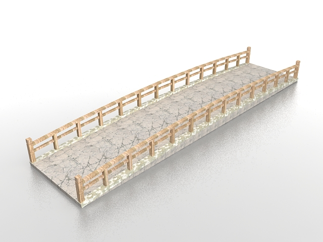 Japanese stone garden bridge 3d rendering