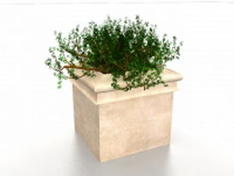 Square outdoor planter 3d model preview