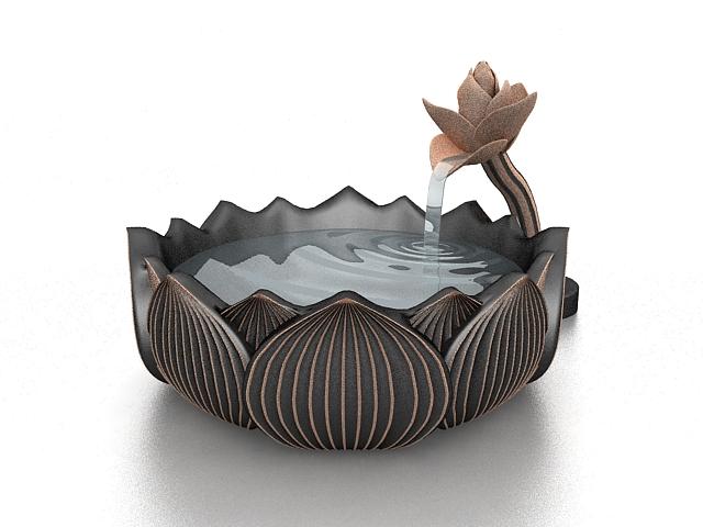Bronze garden fountain 3d rendering