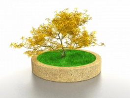 Round flower bed 3d model preview