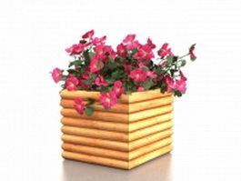 bamboo garden planters 3d model preview