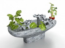 Stone feature and planter 3d preview