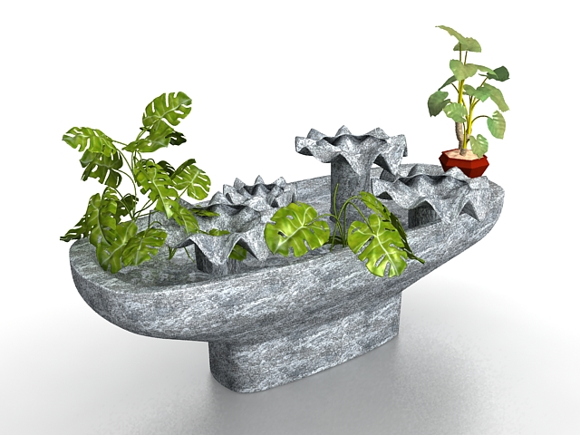 Stone feature and planter 3d rendering