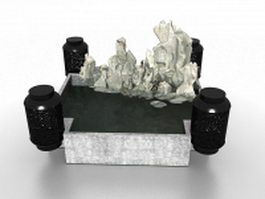 Small rockery pond 3d preview