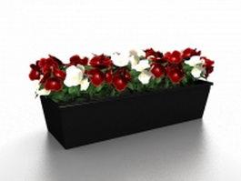 Black rectangular planter box 3d model preview