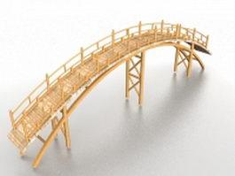 Wooden arch bridge 3d model preview