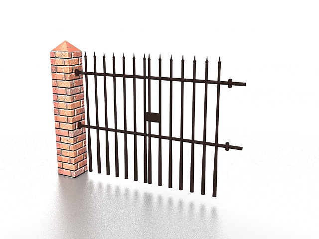 Wrought iron fence with brick column 3d rendering