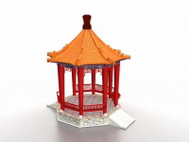 Chinese gazebo 3d model preview