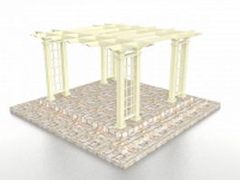 Brick base pergola 3d preview