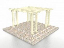 Brick base pergola 3d model preview