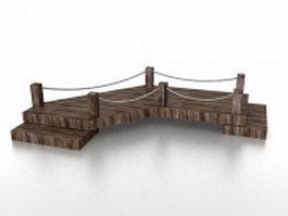 Old wooden bridge 3d model preview
