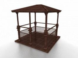 Wooden gazebo with rail 3d model preview