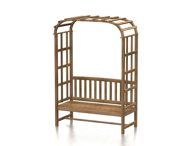 Wood arbor bench 3d rendering